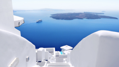 Image of Greece blue water and white buildings